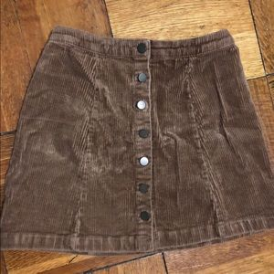 Tan Button Down Mini Skirt